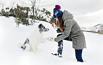 Young woman playing with her border collie in the snow - MGOF03138