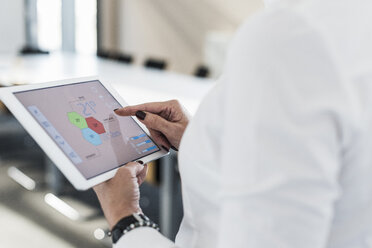 Businesswoman in conference room using tablet with weather data - UUF10302