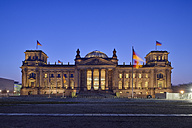 Germany, Berlin, Reichstag building illuminated at dus - RUEF01769