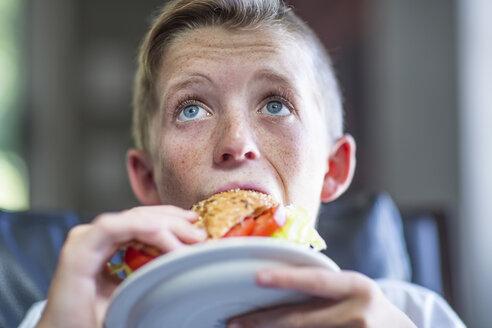 Boy eating sandwhich - ZEF13458