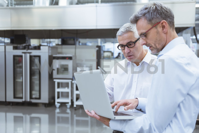 Two managers standing in company using laptop - DIGF01703 - Daniel Ingold/Westend61