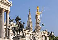 Austria, Vienna, parliament, Statue Pallas Athene, city hall in background - WDF03930
