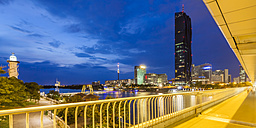 Austria, Vienna, Donau City with DC Tower 1 in the evening - WDF03933