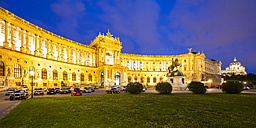 Austria, Vienna, Hofburg, national library, papyrus museum, monument Prince Eugen at night - WDF03954