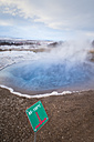 Iceland, temperature sign at geysir and hot springs on Golden Circle - EPF00421