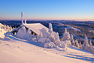 Germany, Bavaria, Bavarian Forest in winter, Great Arber, Zwiesel hut in the evening - SIEF07372