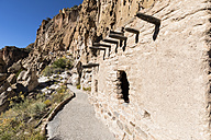 USA, New Mexico, Frijoles Canyon, Bandelier National Monument, Ruins of the Ancestral Pueblo People, Cliff Dwellings, Talus Houses - FOF09166