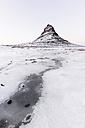 Iceland, Kirkjufell mountain in white - RAEF01791