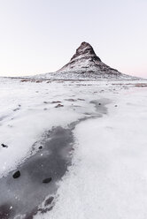 Iceland, Kirkjufell mountain in white - RAEF01791