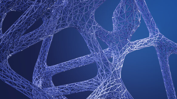 Abstract organic grid structure in blue, 3d rendering - AHUF00322
