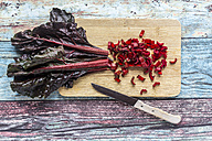 Chopped chard on wooden board - SARF03278