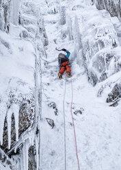 Scotland, Anoach Mor, Man ice climbing in winter - ALRF00895