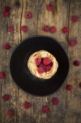 Stack of pancakes with raspberries and raspberry jam - LVF06014