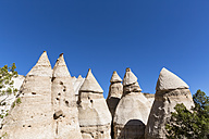 USA, New Mexico, Pajarito Plateau, Sandoval County, Kasha-Katuwe Tent Rocks National Monument, desert valley with bizarre rock formations - FOF09184
