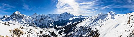 Switzerland, Canton of Bern, Grindelwald, view from First Cliff Walk on Eiger, Mittelhorn, Schreckhorn and Wetterhorn - AMF05364