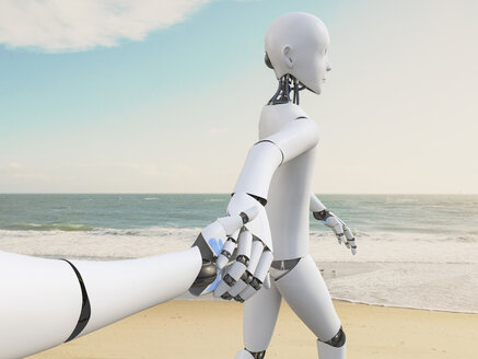 Robot walking hand in hand on the beach, 3d rendering - AHUF00326