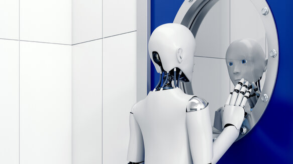 Robot looking at mirror image through safety door, 3d rendering - AHUF00329