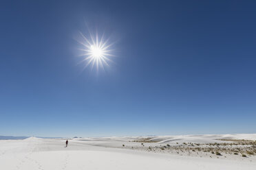 USA, New Mexico, Chihuahua Desert, White Sands National Monument, landscape with person - FOF09211