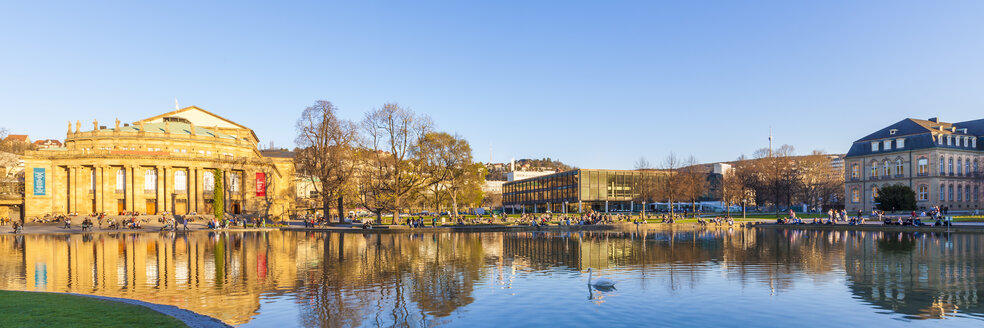 Germany, Stuttgart, city view with Eckensee pond and Opera house in background - WDF03996