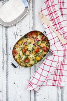 Vegetable Couscous salad in metal box - LVF06035