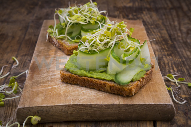 Sandwich with avocado cream and cucumber garnished with radish sprouts - LVF06038