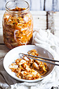 Homemade Korean Kimchi with chinese cabbage, scallions and carrots - SBDF03175