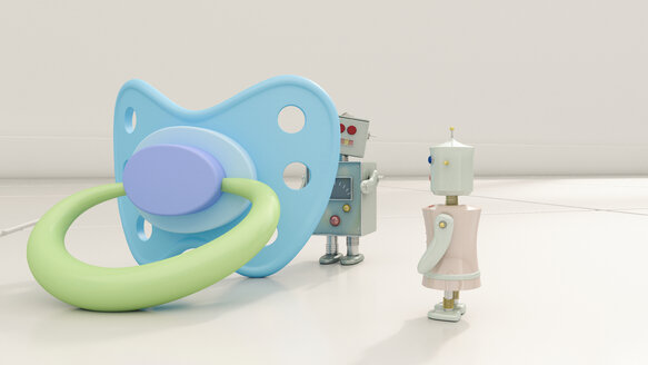 Robot couple with large dummy, 3d rendering - UWF01149