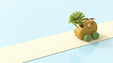 Wooden toy car with palm tree on roof, 3d rendering - UWF01158