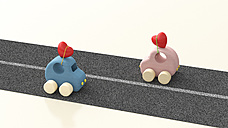 Two wooden toy cars with hearts on roof, 3d rendering - UWF01161