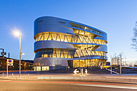 Germany, Stuttgart, lighted Mercedes-Benz Museum at blue hour - WD04001