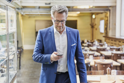 Mature businessman in cafe looking on cell phone - FMKF03931