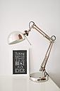 Phrase on blackboard and desk lamp - RAEF01847