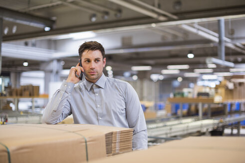 Man in factory talking on cell phone - DIGF01772