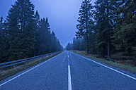 Germany, Lower Saxony, misty road through Harz National Park at evening twilight - PVCF01079