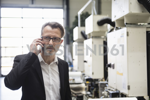 Businessman in factory shop floor on the phone - DIGF02019 - Daniel Ingold/Westend61