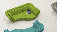 Lounger with laptop seen from above, 3D Rendering - UWF01167