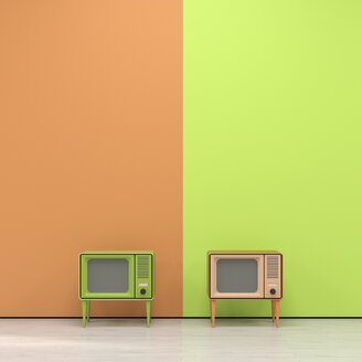 Green and orange television in retro style in front of orange yellow wall - UWF01173