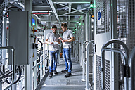 Two men in automatized high rack warehouse looking at tablet - DIGF02328