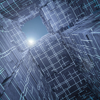 Light shining above futuristic cubes, 3d rendering - AHUF00332