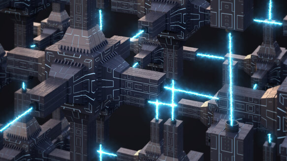 Futuristic energy network, 3d rendering - AHUF00335