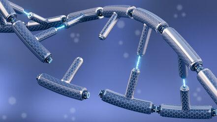 Broken technical DNA, 3d rendering - AHUF00338