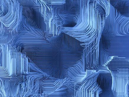 Blue geometric lines, 3d rendering - AHUF00350