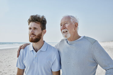 Senior man with adult son on the beach - RORF00774