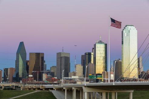 USA, Texas, Dallas skyline at dusk - FOF09226