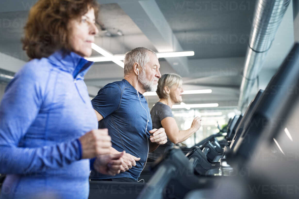 Group of fit seniors on treadmills working out in gym - HAPF01641 - HalfPoint/Westend61