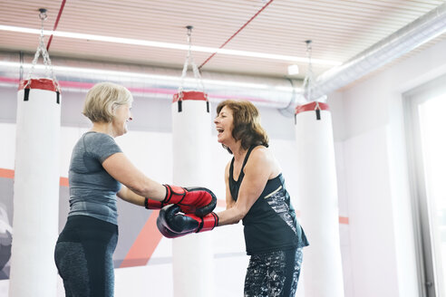 Two happy senior women with boxing gloves in gym - HAPF01686