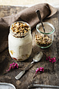 Glass of sauteed apple, natural yoghurt and granola - EVGF03220