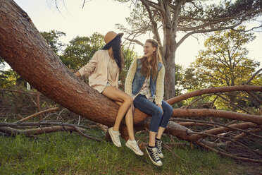 Two young women sitting and talking on tree trunk - SRYF00432
