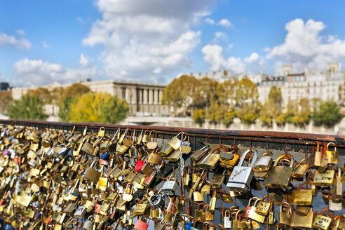 France, Paris, love locks at railing of a bridge over Seine River - MGOF03331