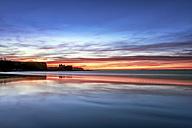 UK, Scotland, East Lothian, Tantallon Castle at sunset from Seacliff beach - SMAF00742